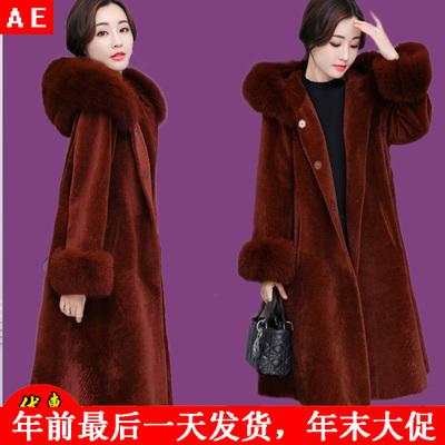 大码羊剪绒双面羊绒大衣女反季加肥加大码200斤5xl毛呢派克貂皮