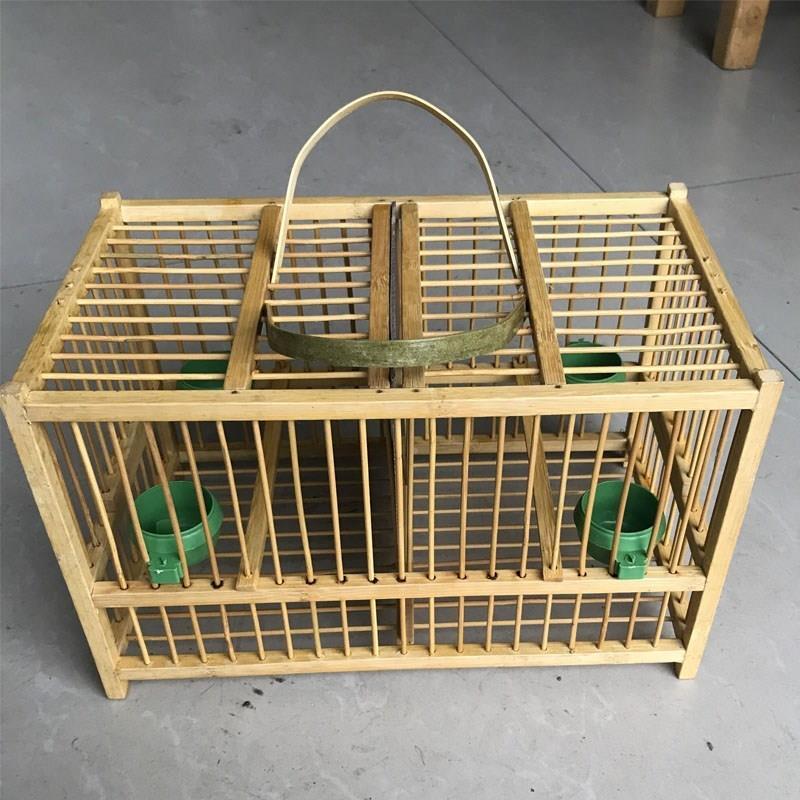 黄豆鸟小竹笼黄腾鸟绣眼鸟颠颏运输双格排笼黄雀笼小鸟笼隔板可拆
