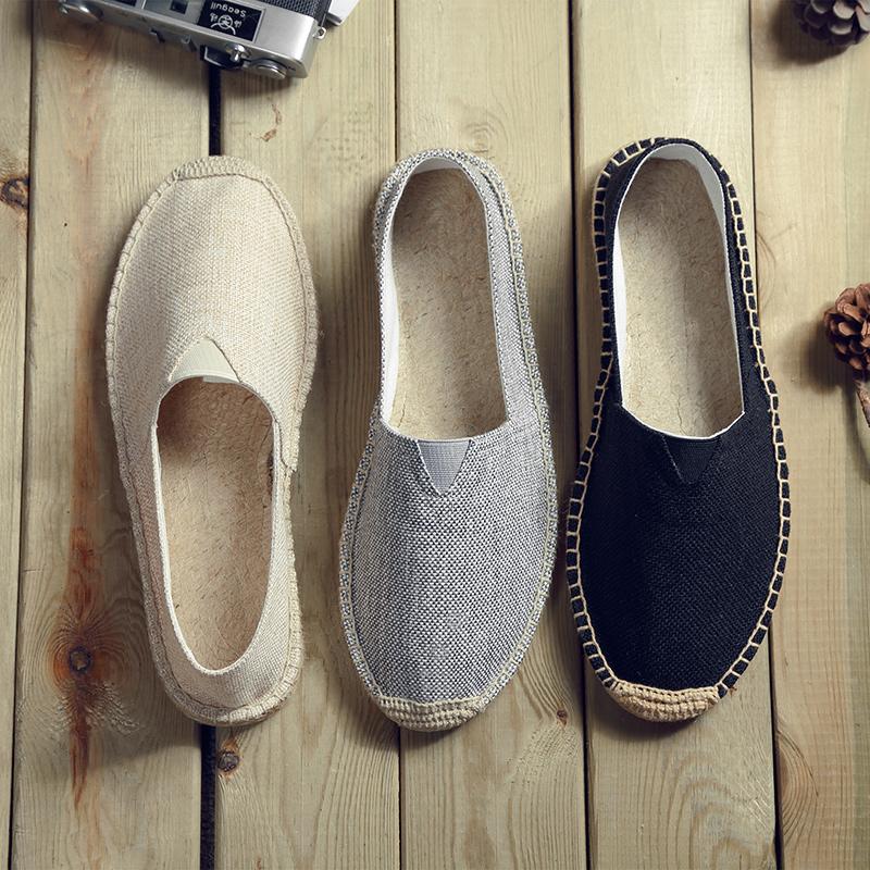 男士草编亚麻鞋