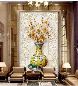 霍元甲瓷砖 中式客厅高清艺术瓷砖发财树花瓶玫瑰玄关过道背景墙