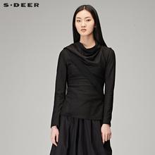 sdeer圣迪奥女装2018春装优雅拼接设计感斜襟上衣S16382205图片