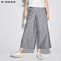 sdeer圣迪奥女气质灰休闲条纹斜插挖袋西装阔腿裤S18280832
