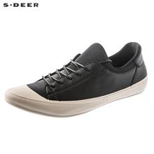 sdeer圣迪奥女装帅气硬朗皮革质感简约时尚休闲鞋S18383962图片