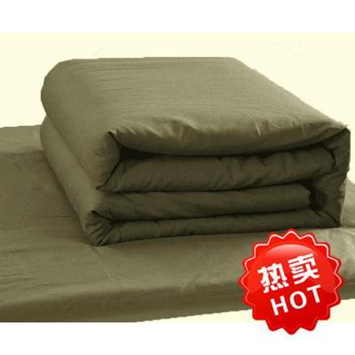 学生新款纯色军训单人床上用品 纯棉被套床单枕套三件套军绿色