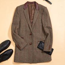 秋冬拼接皮制西装 纯羊毛呢子大衣男复古条纹中长款 毛呢外套修身图片