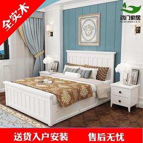 简约现代美式床白色全实木床1.5米高箱1.8储物床双人公主卧室婚床