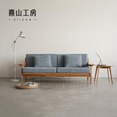 熹山工房北欧简约沙发小户型实木框架棉麻布艺沙发可拆洗嘛嘛沙发