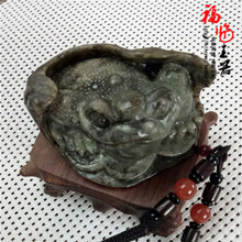 河磨玉手把件天然玉石岫玉岫岩玉把玩件玉金蟾蜍玉石精雕小摆件