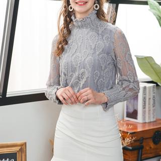 加绒长袖蕾丝打底衫女2018秋冬新款时尚洋气小衫名媛气质上衣
