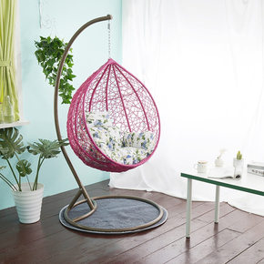 寝室庭院靠背垫小孩吊篮藤椅装饰玫瑰地毯吊椅坐垫宿舍秋千花园客