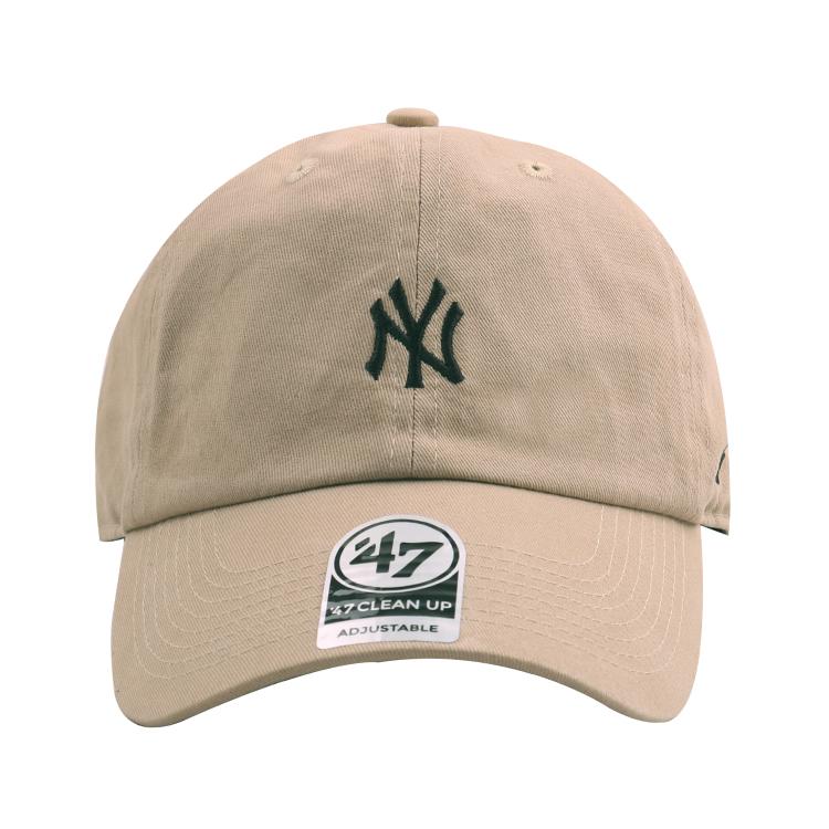47棒球帽专柜正品鸭舌帽男女软顶做旧小标卡其色NY洋基队黑标弯檐