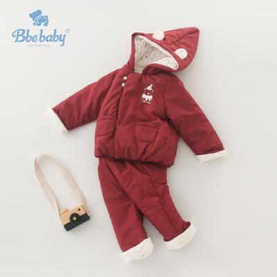 宝宝棉衣套装带帽