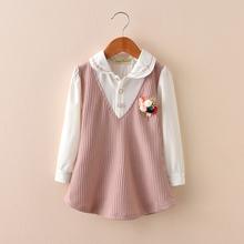 中大童长袖 上衣假两件T恤 衬衣小女孩翻领打底衫 女童衬衫 2018春款