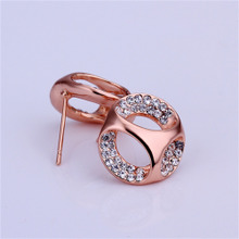 Round Ear Gold Crystal Plating Women Earrings Stud Rose