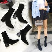 2018秋冬新款瘦瘦靴弹力靴女中筒袜靴中跟针织袜子靴?#25351;?#39640;跟短靴