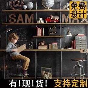 loft书架置物架 铁艺美式实木隔板水管创意书桌工业风落地置物架