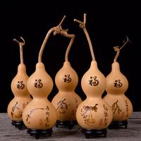 天然葫芦挂件中国结工艺品摆件大小葫芦手工烙画送老人朋友礼物