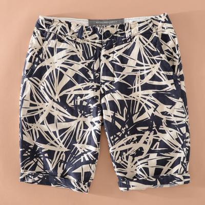 夏天薄款亚麻印花短裤男宽松休闲棉麻沙滩裤大码直筒男士裤子透气