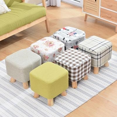 聚美换鞋凳布艺圆墩板凳实木家用简约现代客厅凳沙发凳小凳子套