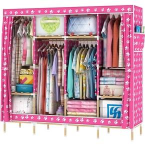 双人简易实木布衣柜木头组装多功能挂衣柜简约经济型家用衣橱