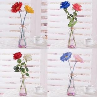 单支玫瑰花小清新摆件假花套装饰品插花装饰花仿真花室内客厅摆设