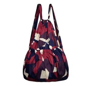 抽绳束口袋印花布包中老年双肩包买菜购物袋大容量帆布妈妈背包女