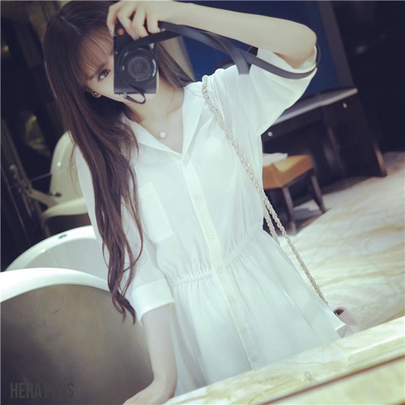 2018春装新款女装性感雪纺裙子气质女神范衣服超仙衬衫连衣裙显瘦