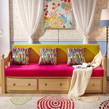 小户型多功能两用储物松木沙发可推拉懒人双人布艺坐垫实木沙发床