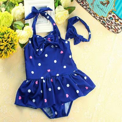 韩国女宝宝连体裙式泳衣 儿童女孩温泉泳装 女童婴儿送发带游泳衣