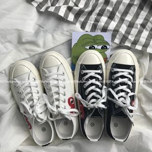 许刘芒 女百搭街拍情侣低帮学生系带小白鞋 韩国ulzzang爱心帆布鞋