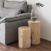 北欧守颈呒改咀沙发小茶几木墩日式简约角几复古床头柜原木创意图片