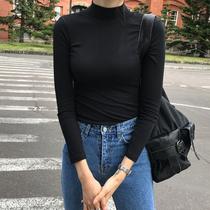 棉长袖t恤女半高领修身紧身内搭百搭中领黑色打底衫早春女装上衣