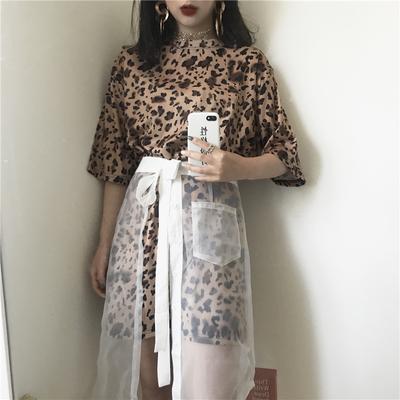 2018新款chic单层透明欧根纱半身裙中长款A字纱裙