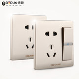 Dutton Switch V8 Champagne Golden Socket Lighting Household Wall Hidden Air Conditioning Type Open Switch Socket Panel