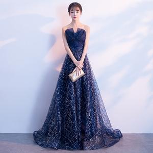 宴会洋装晚礼服裙女2018新款端庄大气长款高贵优雅主持人星空显瘦