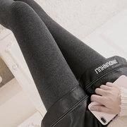 竖条纹打底裤女加绒加厚秋冬季外穿螺纹高腰显瘦踩脚保暖一体棉裤