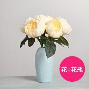 创意仿真玫瑰花牡丹花套装客厅家居摆设装饰花假花绢花小盆栽摆件