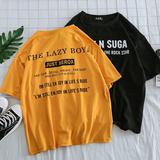 原宿夏季bf风5五分袖7七分袖宽松蝙蝠衫短袖T恤男丅潮流学生韩版