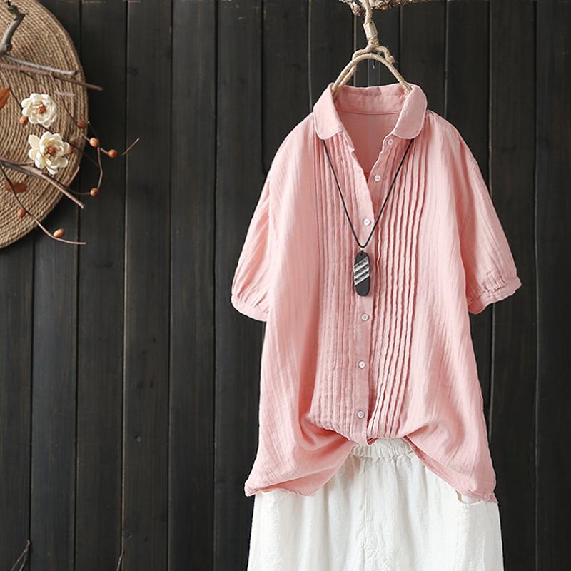 褶皺短袖棉襯衫