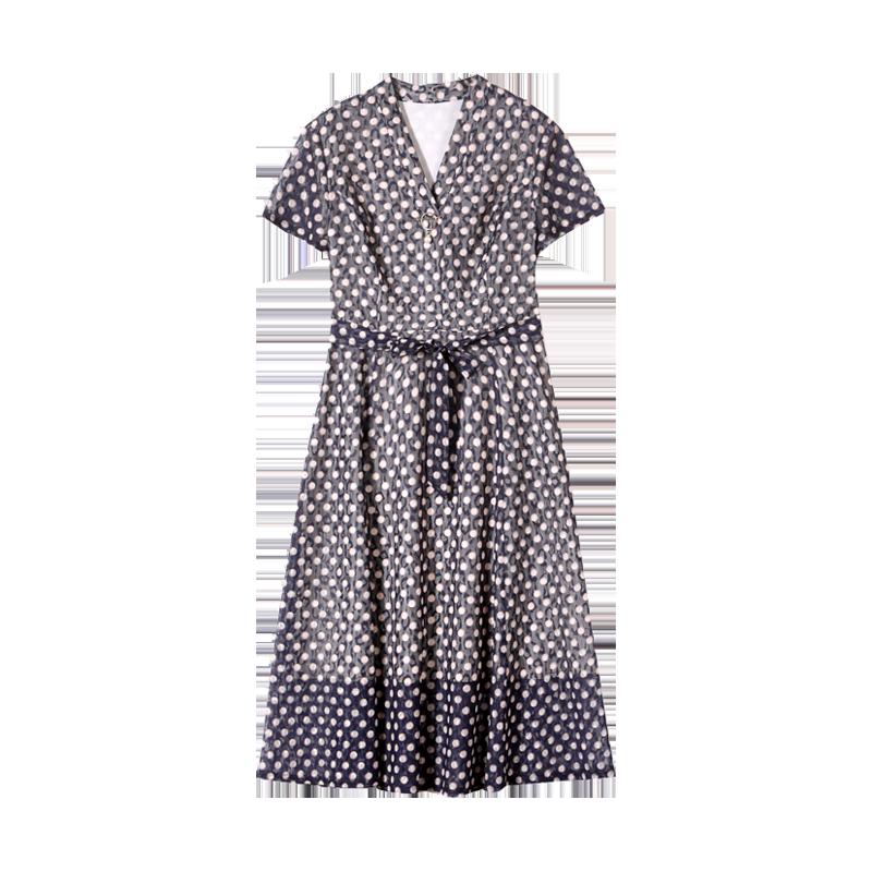 中年女装夏装连衣裙过膝显瘦印花时尚裙子中老年人妈妈装40-50岁