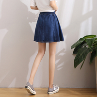 牛仔短裙女夏 半身裙 高腰 a字型2018新款百搭韩版学生宽松伞裙子