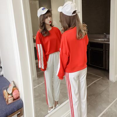 休闲运动服套装女2018秋冬季新款时尚宽松学生韩版卫衣长裤两件套