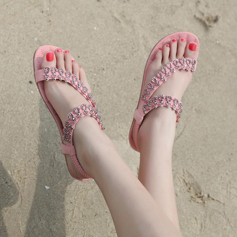 少女夏季休闲平底鞋大童甜美百搭水钻凉鞋初中高中学生防滑沙滩鞋