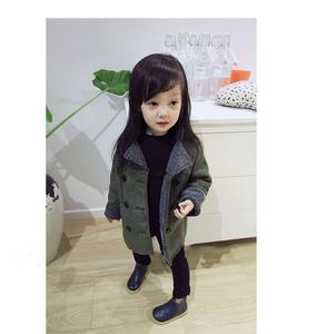 韩版童装2017冬装新款女童宝宝裘皮绒翻毛保暖长款大衣外套棉袄