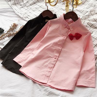 童装女童秋装2018新款韩版卡通头标刺绣儿童翻领长袖衬衫休闲上衣
