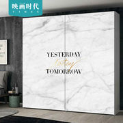 Nordic marble ins wind bedroom wardrobe stickers sliding door custom furniture renovation decorative stickers self-adhesive waterproof