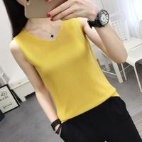 Ice silk sling small fresh shirt summer wear sleeveless knit vest inside women loose large size thin paragraph bottoming shirt