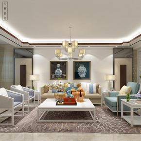 木林世家新中式实木家具现代简约白色沙发组合别墅酒店会所样板房