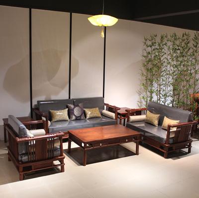 刺猬紫檀新中式简约软体真皮沙发 红木现代花梨木苏梨京瓷风家具