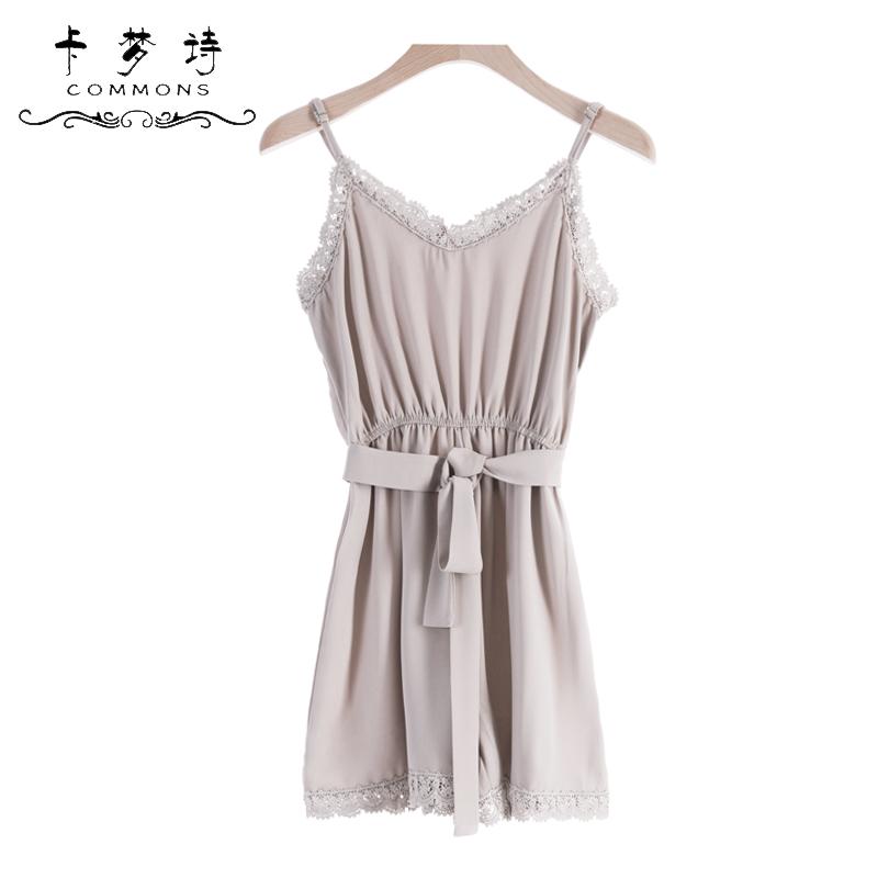 花吊带连体短裤裙